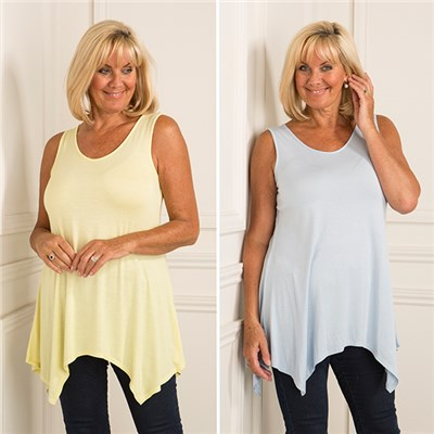 Nicole Two Pack Sharkbite Sleeveless Tunic