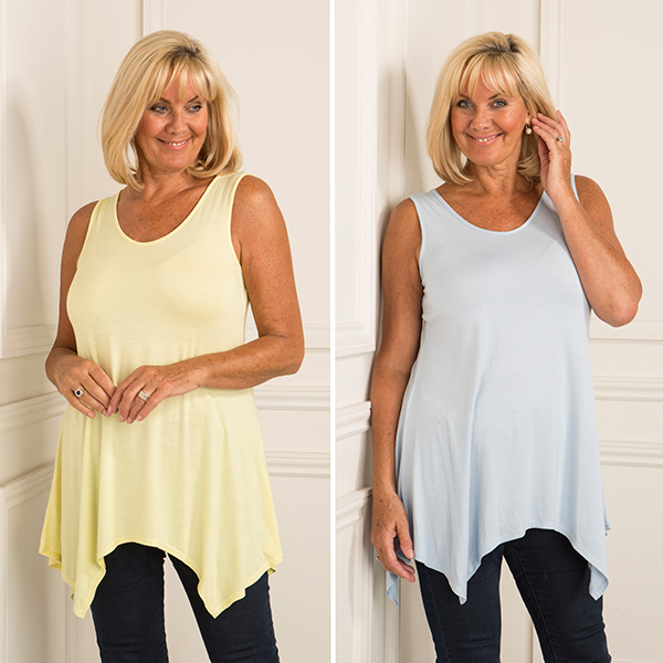 Nicole Two Pack Sharkbite Sleeveless Tunic Lemon/Cornflower