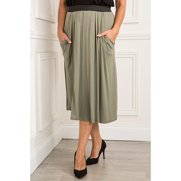 Nicole Drape Pocket Skirt Khaki