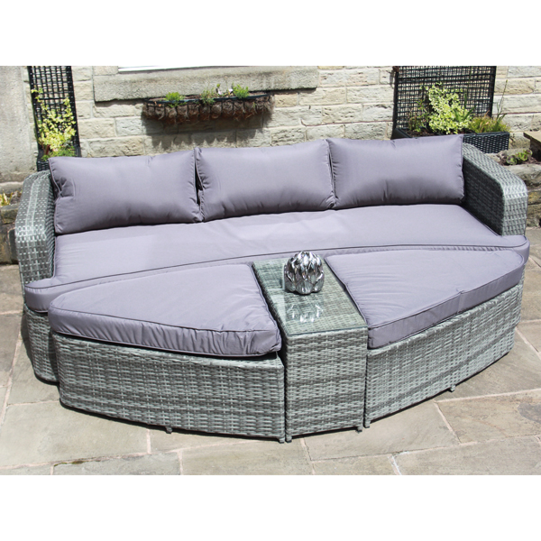 Coney Island Bermuda Outdoor Rattan Day Bed Grey