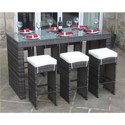 Rattan Effect Horseshoe 6 Seater Bar Set