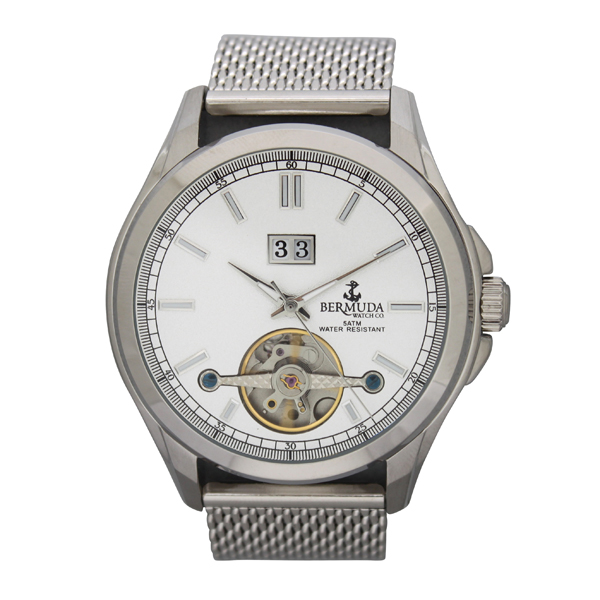Bermuda Gents Devonshire Automatic Watch with Open Heart and Milanese Strap Silver