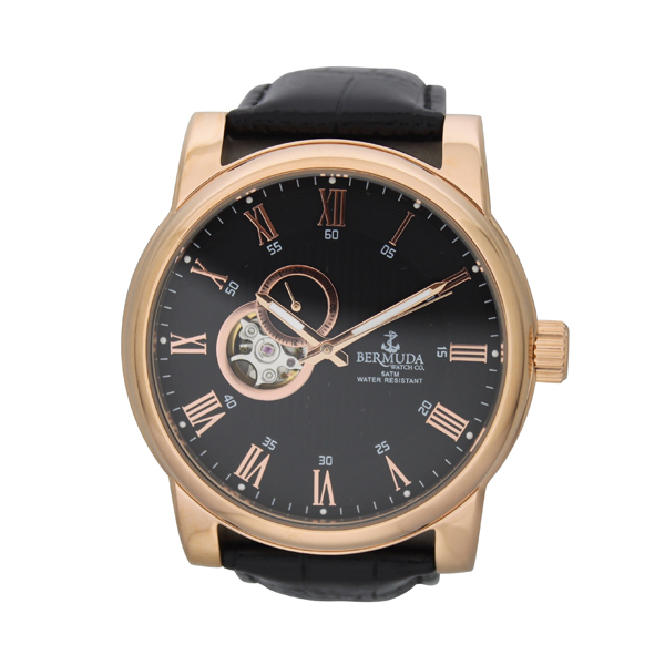 Bermuda Gent's St. George Automatic Watch with Leather Strap Black