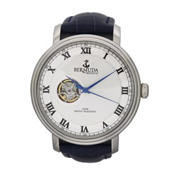 Bermuda Gents Paget Automatic Watch with Open Heart Detail and Leather Strap