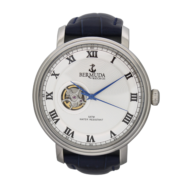 Bermuda Gents Paget Automatic Watch with Open Heart Detail and Leather Strap Blue