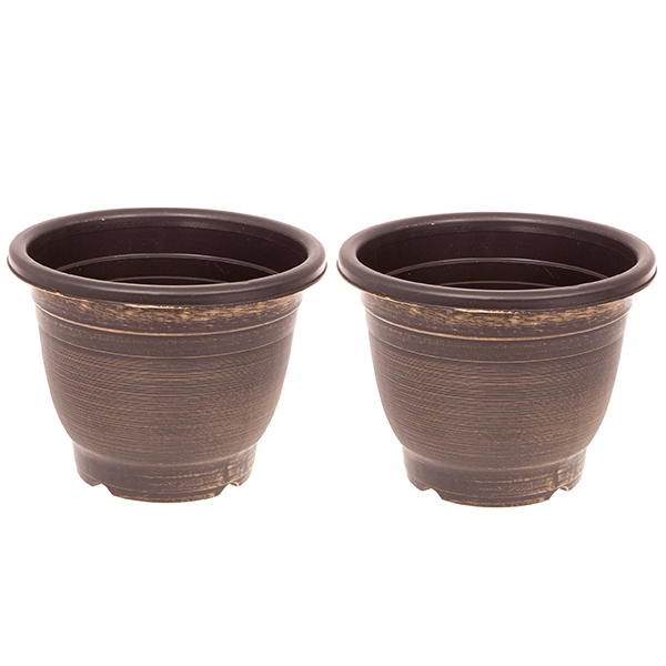 Pair of 30cm Gold Groove Planters No Colour