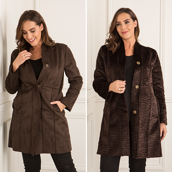 Stolen Heart Reversible Faux Astrakhan Coat Chocolate