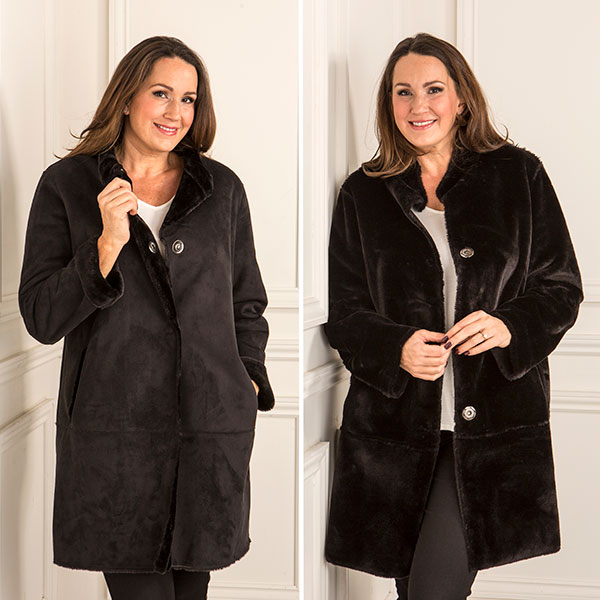Stolen Heart Reversible Faux Shearling Coat Black