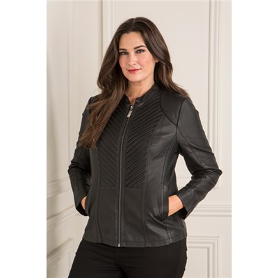 Stolen Heart Faux Leather Zip Through Jacket