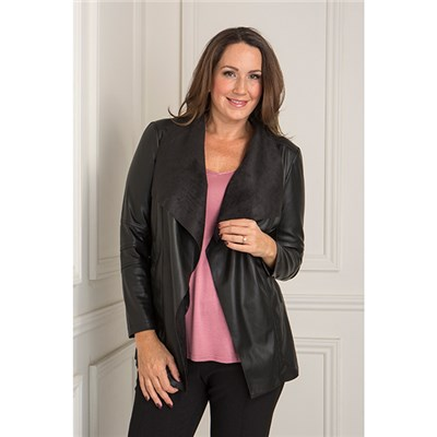 Stolen Heart Stretch Faux Leather Waterfall Jacket