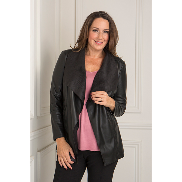Stolen Heart Stretch Faux Leather Waterfall Jacket Black