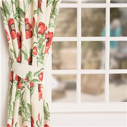 Poppies 3 inch Tape Header Lined Curtains