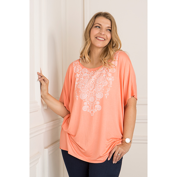 Daisy Eldridge Print and Stud Top Apricot