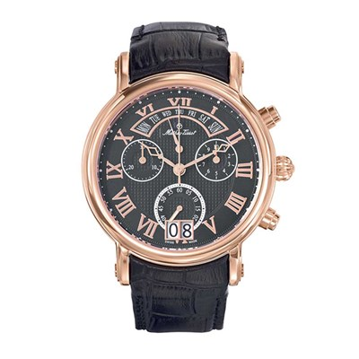 Mathey-Tissot Gent's Retrograde Swiss Made Chronograph Watch with Leather Strap
