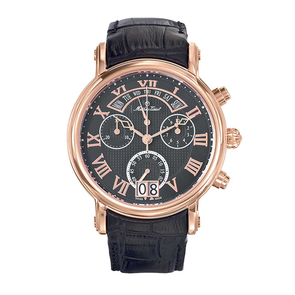 Mathey-Tissot  Gents Retrograde Swiss Made Chronograph Watch with Leather Strap Rose Gold