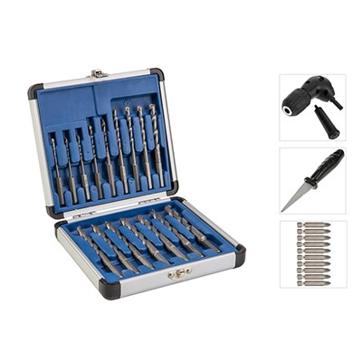 16 Piece Drill All Drill Bit Set with 10 Piece Diamond Tipped Screwdriver Set, Right Angle Drill Attachment and Diamond File