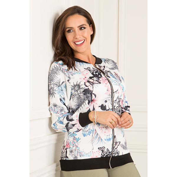 Nouvelle Butterfly Floral Print Bomber Jacket