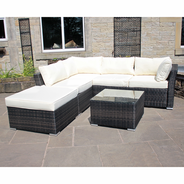 Rattan Effect Windsor Left Corner Sofa Brown