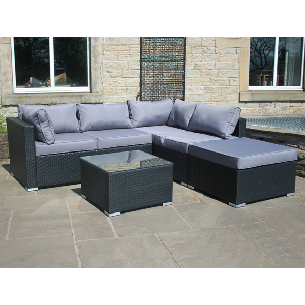 Rattan Effect Windsor Right Corner Sofa Black