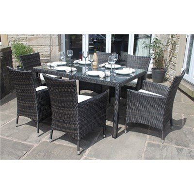 Premium Rattan 6 Seater Rectangular Dining Set