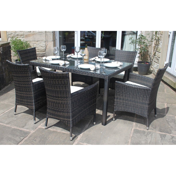 Premium Rattan 6 Seater Rectangular Dining Set Brown