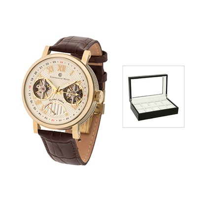 Constantin Weisz Gents Limited Edition Automatic Watch with Power Reserve, Leather Strap and FREE 10 Slot Collectors Box