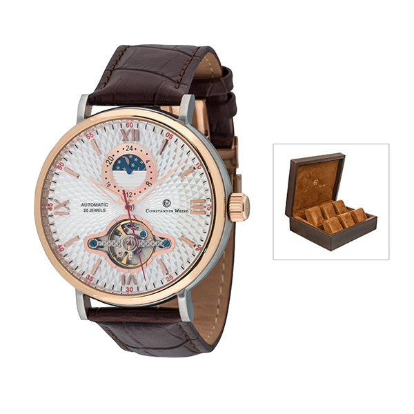 Constantin Weisz Gents Automatic Watch with Open Heart, Leather Strap and 6 Slot Collectors Box Rose Gold