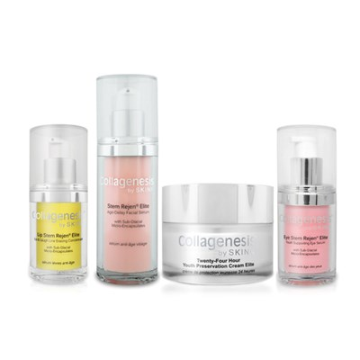 Skinn Collagenesis 24 Hour Cream 50ml, Stem Rejen Face Serum 30ml, Stem Rejen Eye Serum 15ml and Lip Stem Rejen 15ml