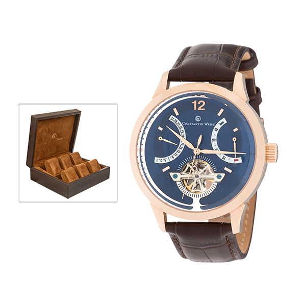 Constantin Weisz Gents Automatic Watch with Power Reserve, Leather Strap and 6 Slot Collectors Box Rose Gold