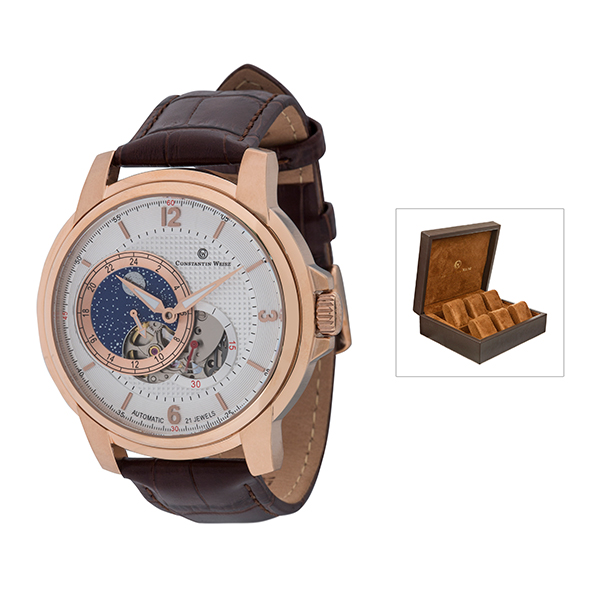Constantin Weisz Gents Automatic Watch with 24 Hour Subdial, Leather Strap and 6 Slot Collectors Box Brown