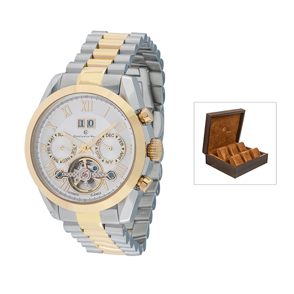 Constantin Weisz Unisex Automatic Watch with Stainless Steel Strap and 6 Slot Collectors Box Gold