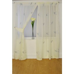 Swallows Embroidered 55 inch Width Pair of Voile Panels