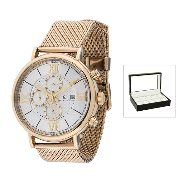 Constantin Weisz Gents Automatic Watch with Milanese Strap with FREE 10 Slot Collectors Box Gold