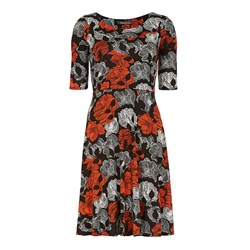 Bonmarche Linear Floral Jersey Fit and Flare Dress 38in