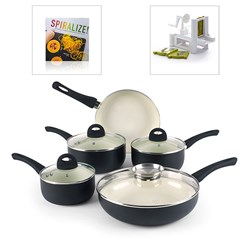 Russell Hobbs 6 Piece Pan Set with Dexam Spiralizer and Spiralizer Recipe Book