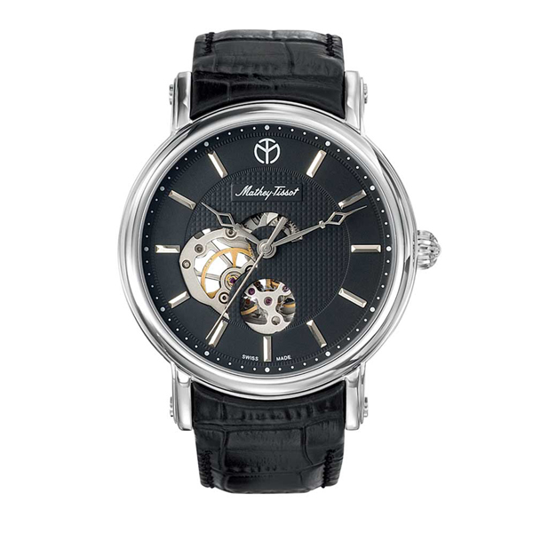 Mathey-Tissot  Gents Automatic Watch with Skeleton Detail and Leather Strap Black