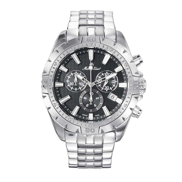 Mathey-Tissot  Gents Bolton Swiss Made Chronograph Watch with Stainless Steel Strap Black