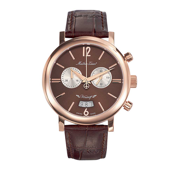 Mathey-Tissot  Gents Vintage Swiss Made Watch with Leather Strap Rose Gold