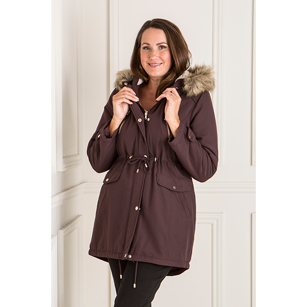 Longline Parka Jacket with Faux Fur Trim Hood Aubergine
