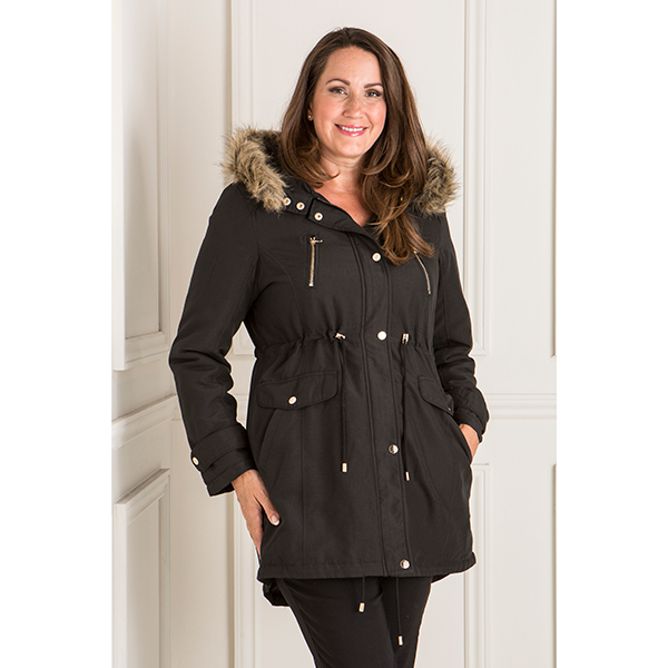 Longline Parka Jacket with Faux Fur Trim Hood (380613) | Ideal World