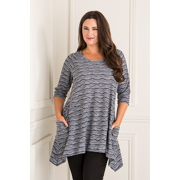 Emelia Textured Tunic Pocket Top Blue/White