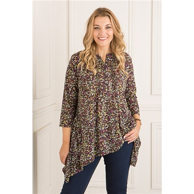 Emelia Printed Button Up Shirt Tunic Top