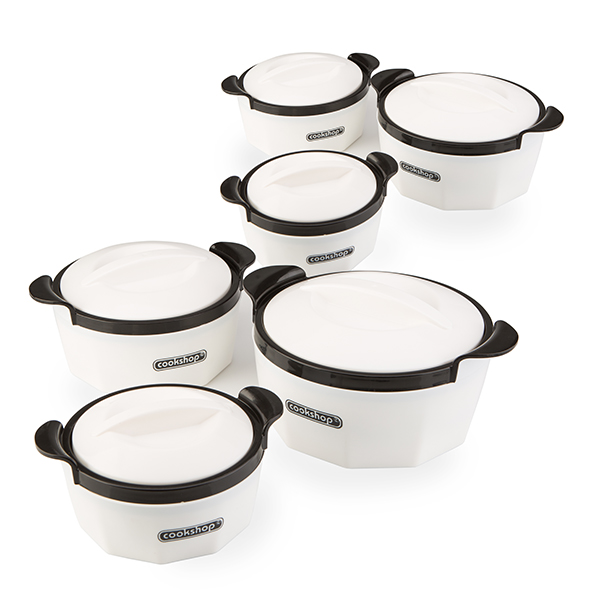 Cookshop Set of 6 Insulated Dishes - Fiona Range No Colour