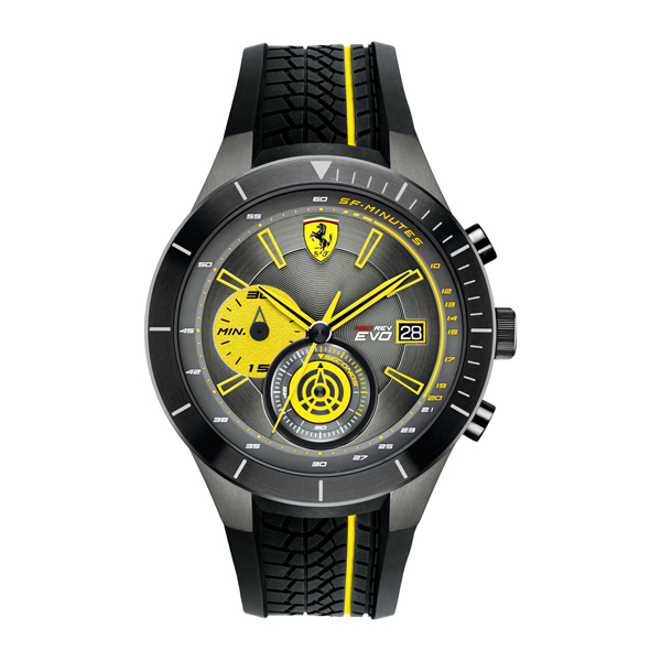 Scuderia Ferrari Gents Red Rev Evo Chronograph Watch with Silicone Strap Yellow