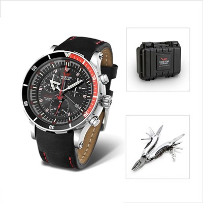 Vostok Europe Gents Anchar Chronograph Watch with Interchangeable Straps, Dry Box and FREE Multi tool
