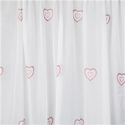 Hearts Embroidered 59in Pair of Voile Panels
