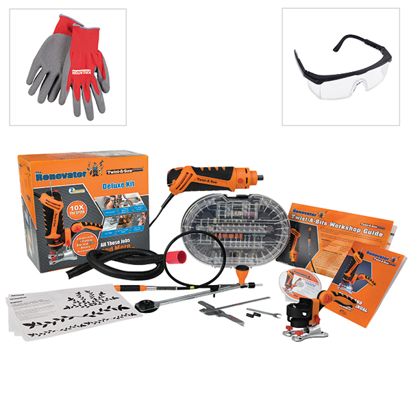The Renovator Twist-A-Saw Deluxe Kit with FREE Safety Glasses and Gloves No Colour