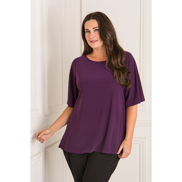 Nicole Angel Sleeve Fluid Jersey Top Purple