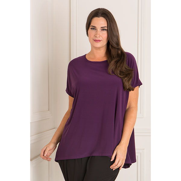 Nicole Fluid Jersey Dip Back Top Purple