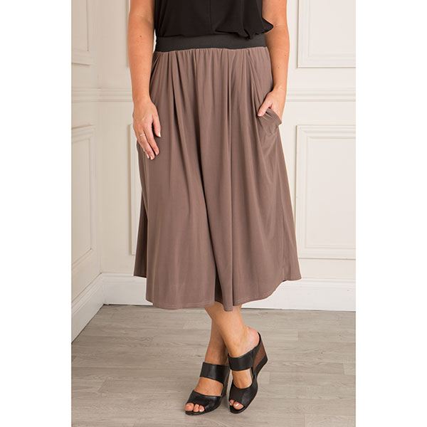 Nicole Fluid Jersey Drape Pocket Skirt Mocha